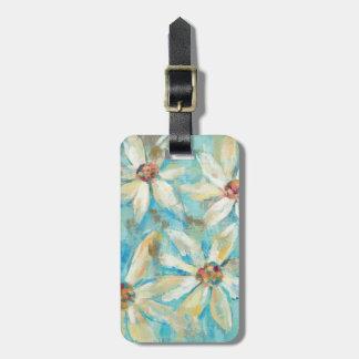 White Daisies on Blue Luggage Tag