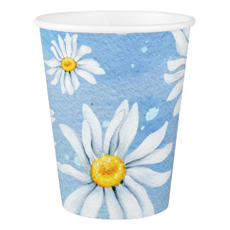 White Daisies on Blue Paper Cup