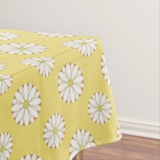 White Daisies on Golden Yellow Tablecloth