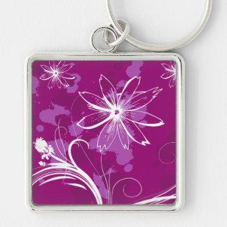 White Daisies on Purple Key Chain