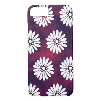 White Daisies on Smoky Burgundy & Purple iPhone 7 Case