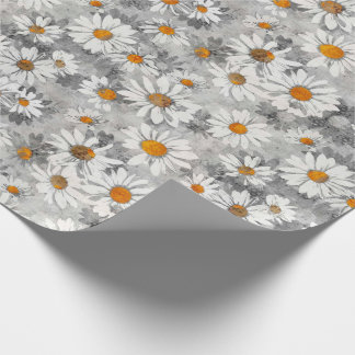 White Daisies Pattern Wrapping Paper