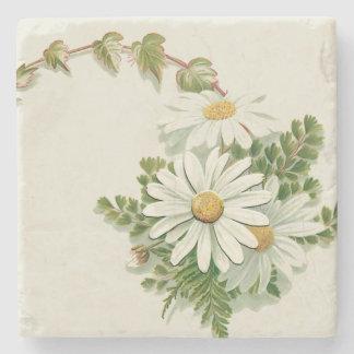 White Daisies Stone Coaster