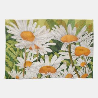 White Daisies Tea Towel