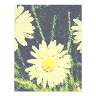 White Daisies Three Green Yellow Bloom Pastel Flyer Design