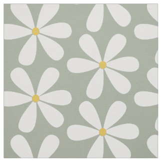 White daisies with yellow centres on moss grey fabric