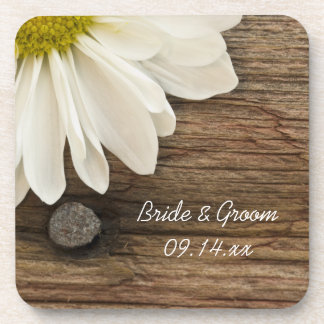White Daisy and Barn Wood Country Wedding Beverage Coaster