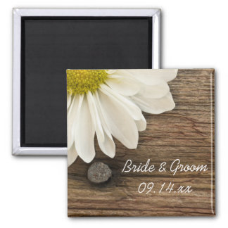 White Daisy and Barn Wood Country Wedding Square Magnet