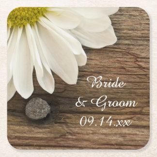 White Daisy and Barn Wood Country Wedding Square Paper Coaster