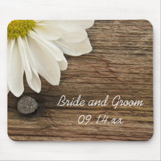 White Daisy and Barn Wood Wedding Mouse Mat