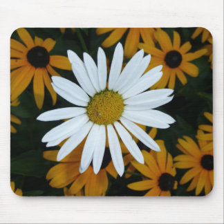 White Daisy and Blackeyed Susans Mouse Mat