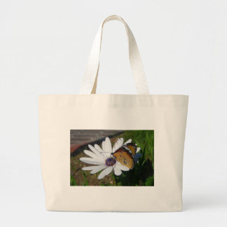 White Daisy and Butterfly Tote Bags