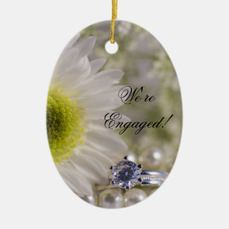 White Daisy and Diamond Ring Engagement Christmas Ornament
