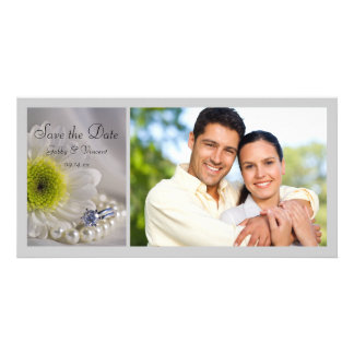 White Daisy and Diamond Ring Wedding Save the Date Photo Cards