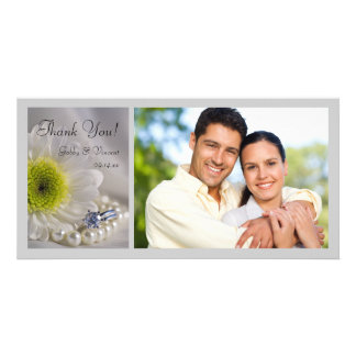 White Daisy and Diamond Ring Wedding Thank You Photo Cards