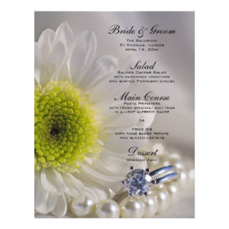White Daisy and Diamond Wedding Menu 21.5 Cm X 28 Cm Flyer