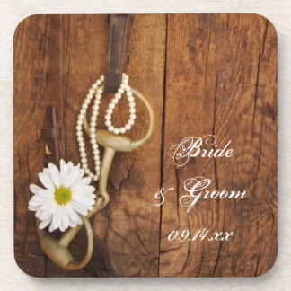 White Daisy and Horse Bit Country Western Wedding Beverage Coasters