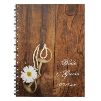 White Daisy and Horse Bit Country Western Wedding Notebooks