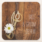 White Daisy and Horse Bit Country Western Wedding Square Paper Coaster