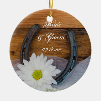White Daisy and Horseshoe Country Wedding Christmas Ornament