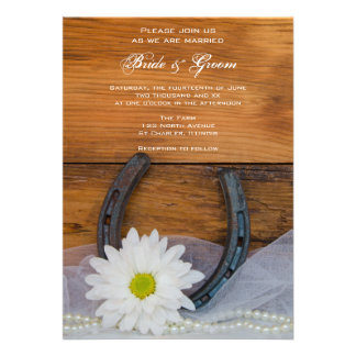 White Daisy and Horseshoe Country Wedding Invite