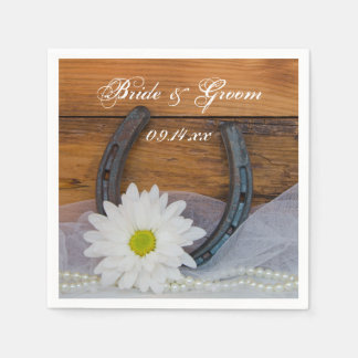 White Daisy and Horseshoe Country Western Wedding Disposable Napkin