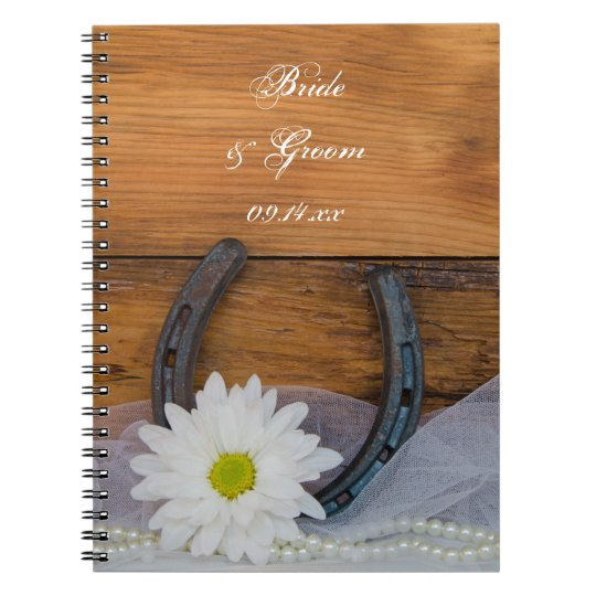 White Daisy and Horseshoe Country Western Wedding Spiral Notebook