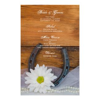 White Daisy and Horseshoe Western Wedding Menu Stationery Paper