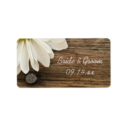 White Daisy Barn Wood Country Wedding Favour Tag
