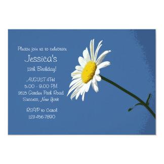 """White Daisy Birthday Party Invitation 5"""" X 7"""" Invitation Card"""