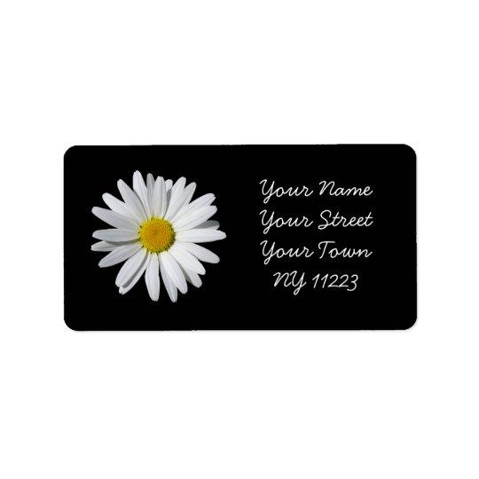 White Daisy Black Background Address Label