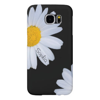 White Daisy Black Custom Name Samsung Galaxy S6 Cases