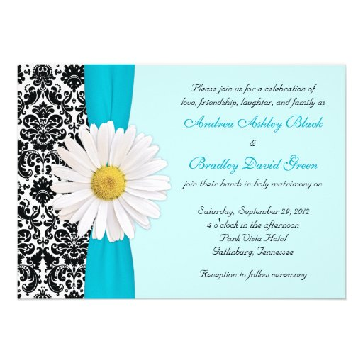 White Black Gold Daisy Wedding Invitation: Blue And Black Damask Gifts