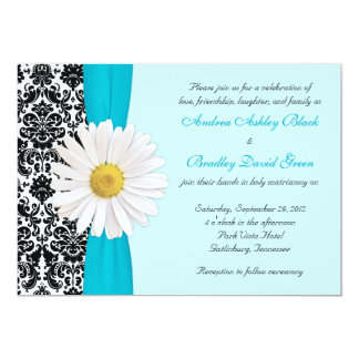 White Daisy Blue Black Damask Wedding Invitation
