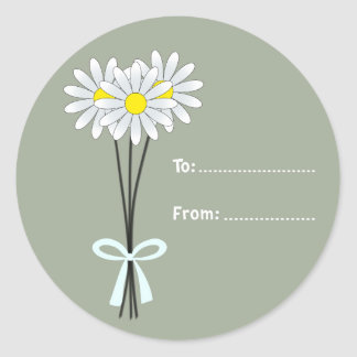 White Daisy Bouquet on Greenish Round Sticker