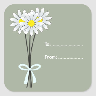 White Daisy Bouquet on Greenish Square Sticker