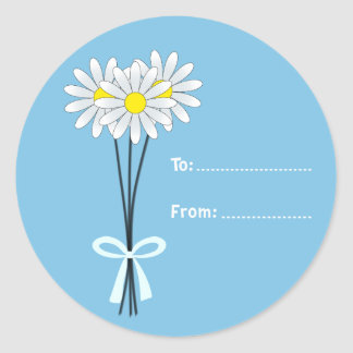 White Daisy Bouquet on Light Blue Round Sticker