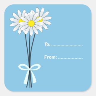White Daisy Bouquet on Light Blue Square Sticker