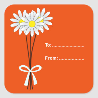 White Daisy Bouquet on Orange Square Sticker