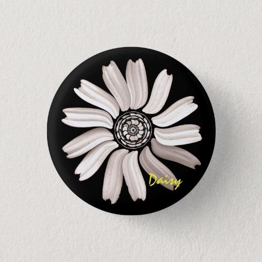 White Daisy Button/Pin 3 Cm Round Badge