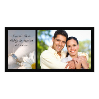 White Daisy Elegance Wedding Save the Date Photo Custom Photo Card