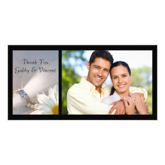 White Daisy Elegance Wedding Thank You Photo Card