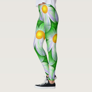 White daisy floral monogram pattern leggings