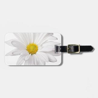White Daisy Flower Background Customized Daisies Luggage Tag