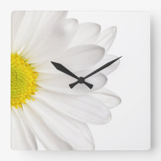 White Daisy Flower Background Customized Daisies Square Wall Clock
