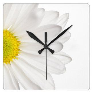 White Daisy Flower Background Customized Daisies Wallclocks