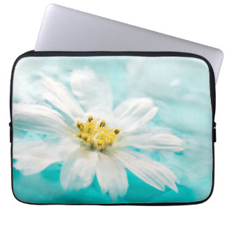 White Daisy Flower Blue Water Pond Tropical Laptop Sleeve