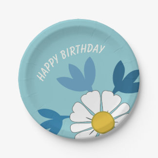 White daisy flower happy birthday paper plate