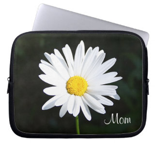"White Daisy Flower ""Mom"" Laptop Sleeve"