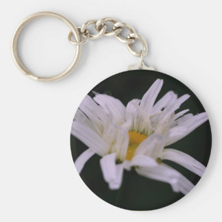 White Daisy Flower Photography Keychain